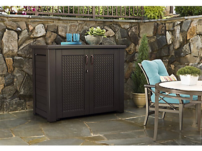 ... Patio Chic Storage Cabinet. 1V87_PatioCabinet_BW_Angled