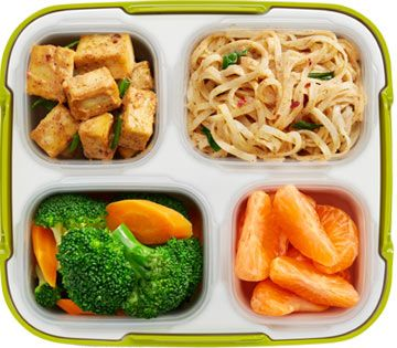 Spicy Almond Tofu with Rice Noodles and Vegetables