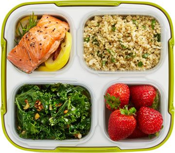 Lemon Rosemary Salmon with Garlicky Kale and Quinoa