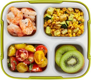 Roasted Shrimp, Corn and Zucchini with Tomato Salad